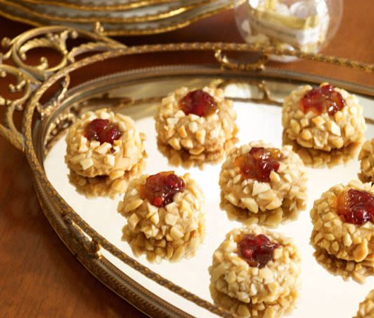 Gingersnap Thumbprints with Cranberry-Apricot Filling
